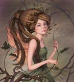 Маленькая фея в зеленом платье Стоковая Фотография