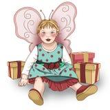 Маленькая фея младенца с подарками Стоковые Фото