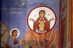 Маленькая церковь нет далеко от большой церков троицы Святого - Sameba Стоковое Изображение