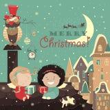 Маленькие ангелы на крыше праздновать рождество иллюстрация штока