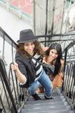 Маленькие девочки взбираясь лестницы Стоковая Фотография RF