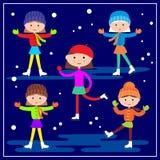 Маленькие девочки катаясь на коньках на голубой предпосылке Стоковые Изображения