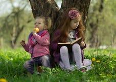 Маленькие девочки прочитали книгу Стоковые Изображения RF