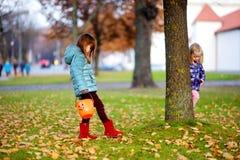 Маленькие девочки собирая жолуди для производить и играть на красивый день осени Стоковое Изображение