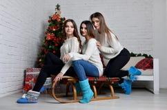 Маленькие девочки с санями Стоковая Фотография