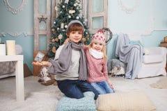 Маленькие дети и рождественская елка Стоковое Изображение RF