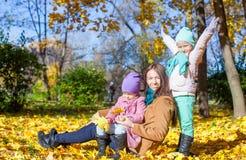 Маленькие милые девушки и молодая мать в осени паркуют Стоковое фото RF