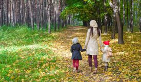 Маленькие милые девушки и молодая мать в осени паркуют Стоковые Изображения RF