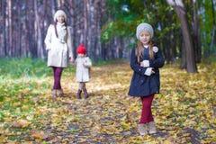 Маленькие милые девушки и молодая мать в осени паркуют Стоковые Фото