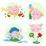 Маленькие милые розовые облака иллюстрация вектора