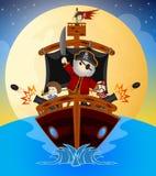 Маленькие пираты плавая с их кораблем Стоковые Фотографии RF