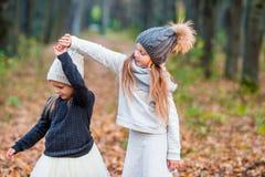 Маленькие прелестные девушки играя в красивой осени паркуют внешнее Стоковые Изображения