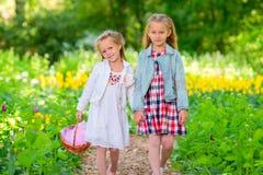 Маленькие прелестные девушки идя весной сад outdoors Стоковые Изображения RF