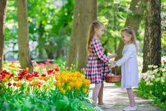 Маленькие прелестные девушки идя в пышный сад  Стоковые Изображения RF