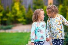 Маленькие прелестные девушки идя на теплую солнечную осень Стоковая Фотография