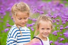 Маленькие прелестные девушки идя outdoors в поле цветков Стоковые Фото