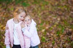 Маленькие прелестные девушки на теплом дне в осени паркуют Стоковые Изображения RF