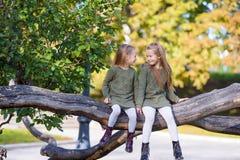 Маленькие прелестные девушки на теплом дне в осени паркуют Стоковое Изображение RF