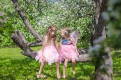 Маленькие прелестные девушки с крылами бабочки дальше Стоковое фото RF