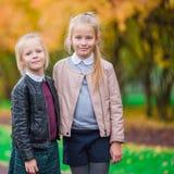 Маленькие прелестные девушки outdoors на дне осени Стоковые Изображения
