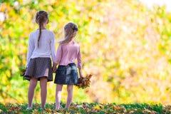 Маленькие прелестные девушки outdoors на теплом дне осени Стоковые Фотографии RF