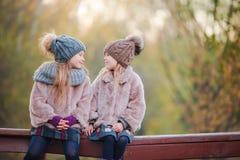 Маленькие прелестные девушки outdoors на теплом солнечном дне осени Стоковые Фото