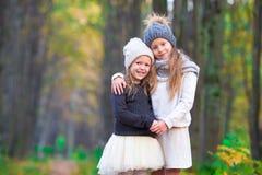 Маленькие прелестные девушки outdoors на теплом солнечном дне осени Стоковые Изображения RF