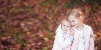 Маленькие прелестные дети на теплом дне в осени паркуют Стоковые Фотографии RF