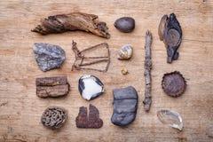 Маленькие сокровища для пляжа реки Стоковые Изображения RF