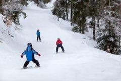Маленькие лыжники Стоковые Фото