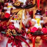 Маленькие snowmans как подарки и украшения для рождества Стоковое Изображение RF