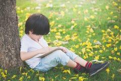 Маленький азиатский мальчик сидя под деревом и рисуя в тетради стоковые изображения
