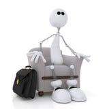 Маленький белый человек сидит в стуле. иллюстрация вектора