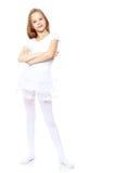 Маленький гимнаст в белом костюме Стоковое Изображение RF