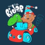 Маленький гонщик плюшевого медвежонка с драконом также вектор иллюстрации притяжки corel Бесплатная Иллюстрация