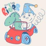Маленький гонщик плюшевого медвежонка с драконом также вектор иллюстрации притяжки corel Иллюстрация вектора