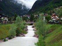 Маленький город в горах доломита Стоковое Фото