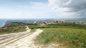 Маленький город на береге моря Стоковое Изображение RF