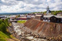 Маленький город Roros в Норвегии Стоковая Фотография