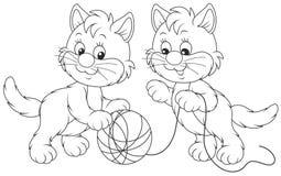 Маленький играть котят иллюстрация вектора