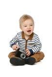 Маленький мальчик малыша с ретро камерой Стоковые Фотографии RF