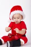 Маленький милый мальчик с шляпой Санты Стоковая Фотография