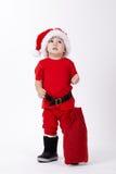 Маленький милый мальчик с шляпой Санты Стоковое Изображение