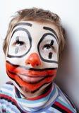 Маленький милый мальчик с facepaint любит клоун Стоковая Фотография