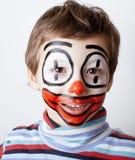Маленький милый мальчик с facepaint любит клоун Стоковые Фото
