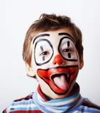 Маленький милый мальчик с facepaint любит клоун, pantomimic выражение Стоковые Изображения