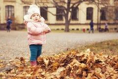 Маленький милый ребенк девушки имея потеху в парке в одеждах осени теплых & x28; Стоковые Фото