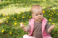 Маленький младенец играя в парке на траве Стоковое фото RF
