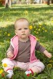 Маленький младенец играя в парке на траве Стоковое Фото