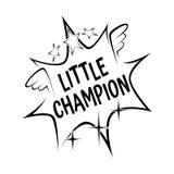Маленький лозунг чемпиона в шуточном взрыве развевает на белой предпосылке Стоковая Фотография RF